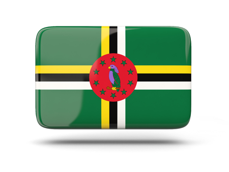 dominica: Square icon with shadow and flag of dominica