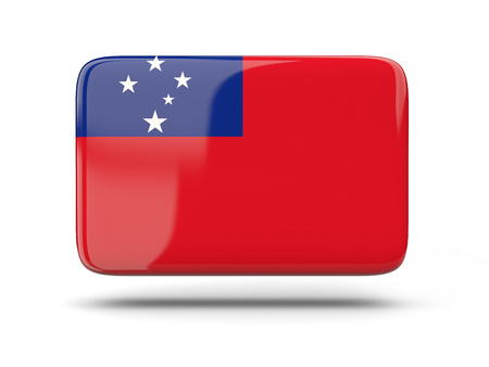 samoa: Square icon with shadow and flag of samoa