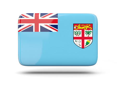 fiji: Square icon with shadow and flag of fiji