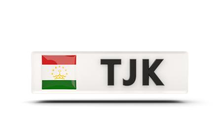 tajikistan: Square icon with flag of tajikistan and ISO code