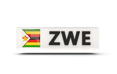 zimbabwe: Square icon with flag of zimbabwe and ISO code Foto de archivo