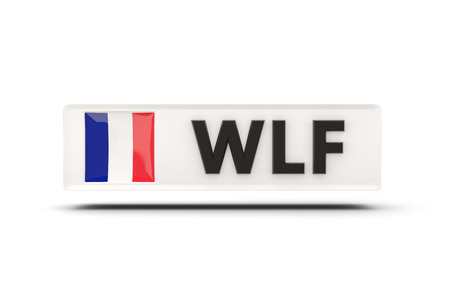 wallis: Square icon with flag of wallis and futuna and ISO code Stock Photo