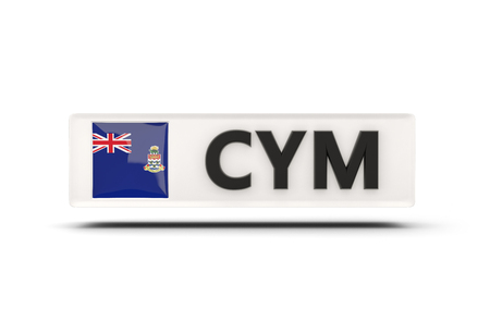 cayman: Square icon with flag of cayman islands and ISO code