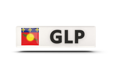 guadeloupe: Square icon with flag of guadeloupe and ISO code