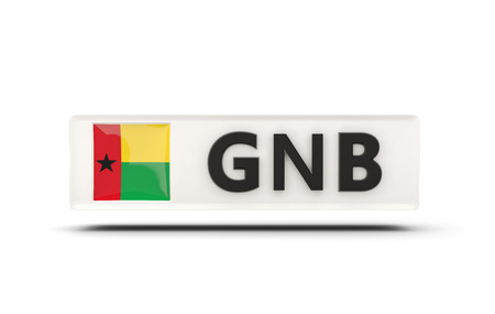 guinea bissau: Square icon with flag of guinea bissau and ISO code Stock Photo