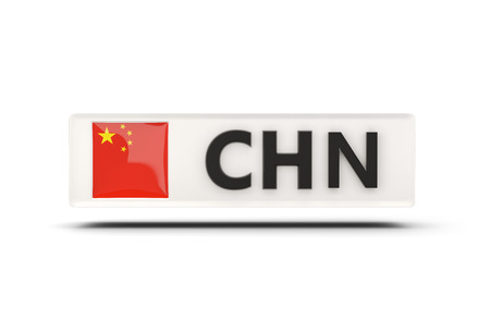 button glossy: Square icon with flag of china and ISO code