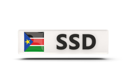 south sudan: Square icon with flag of south sudan and ISO code Stock Photo