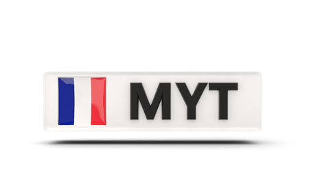 mayotte: Square icon with flag of mayotte and ISO code