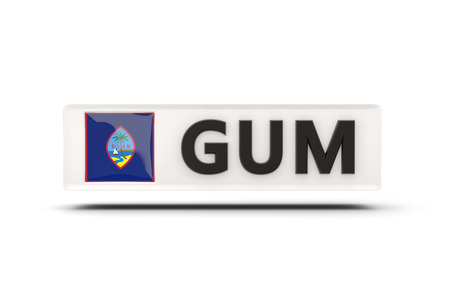 guam: Square icon with flag of guam and ISO code Stock Photo