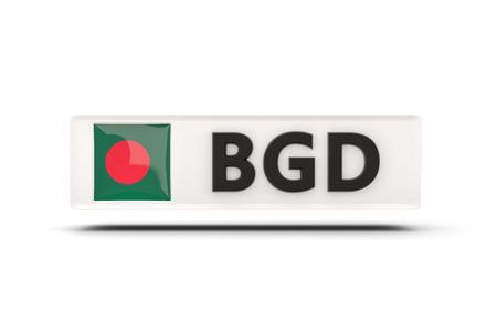 national flag bangladesh: Square icon with flag of bangladesh and ISO code Stock Photo