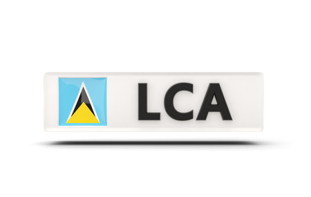 saint lucia: Square icon with flag of saint lucia and ISO code