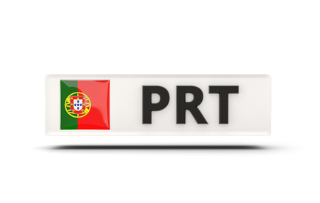 glossy button: Square icon with flag of portugal and ISO code