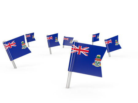 cayman islands: Square pins with flag of cayman islands isolated on white Stock Photo
