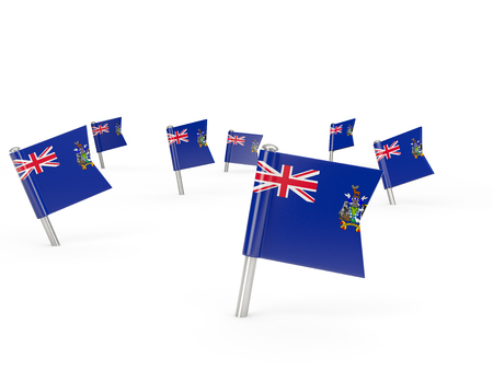 south georgia: Square pins with flag of south georgia and the south sandwich islands isolated on white Stock Photo