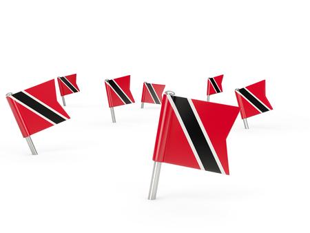national flag trinidad and tobago: Square pins with flag of trinidad and tobago isolated on white Stock Photo