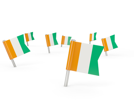 cote ivoire: Square pins with flag of cote d Ivoire isolated on white Stock Photo