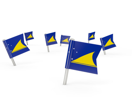 tokelau: Square pins with flag of tokelau isolated on white