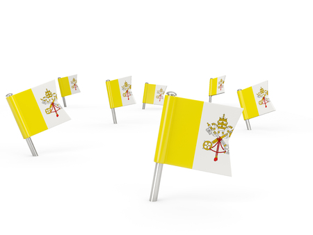 ciudad del vaticano: Square pins with flag of vatican city isolated on white