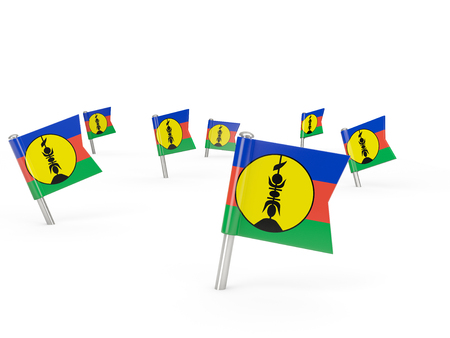 new caledonia: Square pins with flag of new caledonia isolated on white