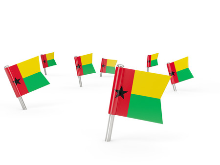 guinea bissau: Square pins with flag of guinea bissau isolated on white Stock Photo