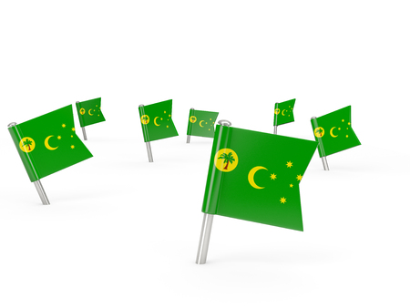 cocos: Square pins with flag of cocos islands isolated on white Stock Photo