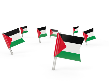 palestinian: Square pins with flag of palestinian territory isolated on white