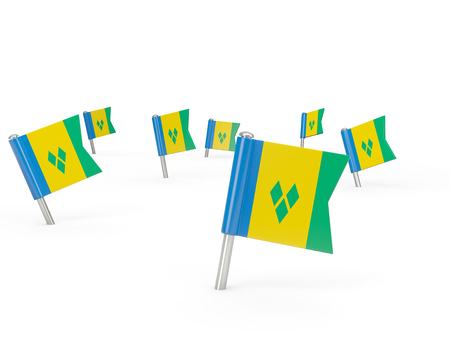 grenadines: Square pins with flag of saint vincent and the grenadines isolated on white Stock Photo