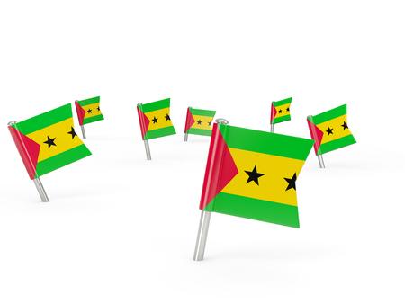 principe: pasadores cuadrados con bandera de Santo Tomé y Príncipe aislados en blanco