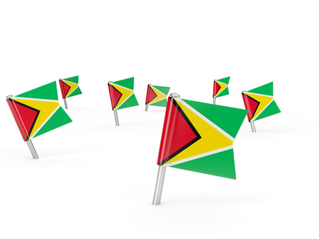 guyana: Square pins with flag of guyana isolated on white