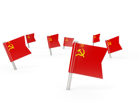 Square pins with flag of ussr isolated on white