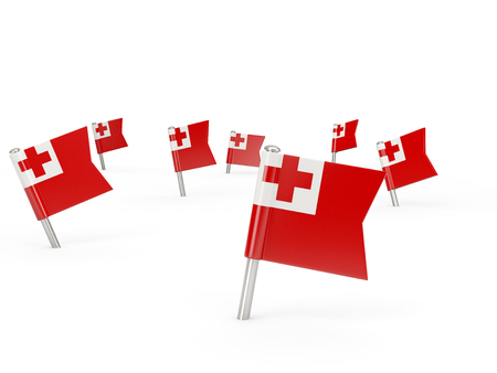 tonga: Square pins with flag of tonga isolated on white Stock Photo
