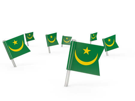 mauritania: Square pins with flag of mauritania isolated on white