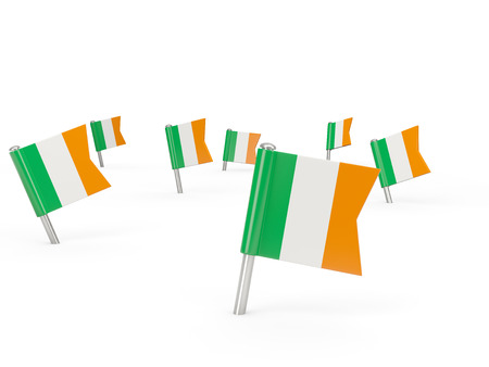 ireland flag: Square pins with flag of ireland isolated on white