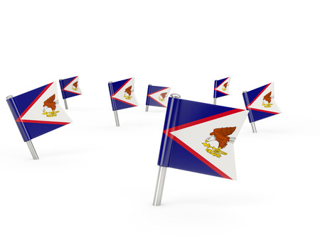 samoa: Square pins with flag of american samoa isolated on white