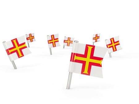 guernsey: Square pins with flag of guernsey isolated on white Stock Photo