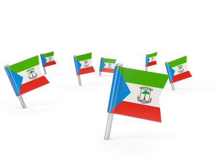 equatorial guinea: Square pins with flag of equatorial guinea isolated on white Stock Photo
