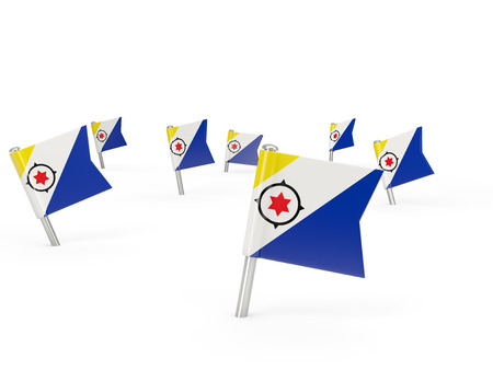 bonaire: Square pins with flag of bonaire isolated on white Stock Photo