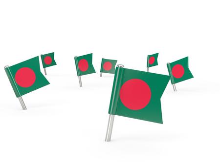 national flag bangladesh: Square pins with flag of bangladesh isolated on white