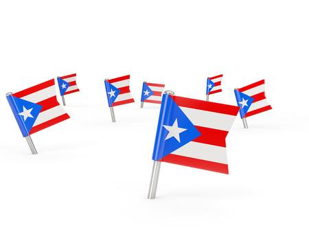 bandera de puerto rico: pasadores cuadrados con bandera de Puerto Rico aislados en blanco