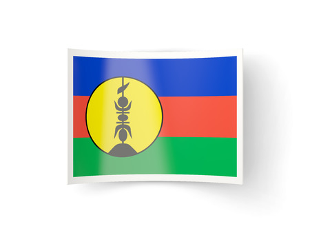new caledonia: Bent icon with flag of new caledonia isolated on white