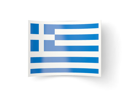 bent: Bent icon with flag of greece isolated on white Stock Photo