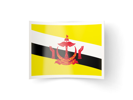 bent: Bent icon with flag of brunei isolated on white