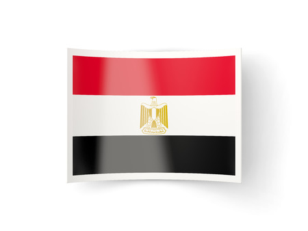 flag egypt: Bent icon with flag of egypt isolated on white
