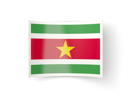 bent: Bent icon with flag of suriname isolated on white