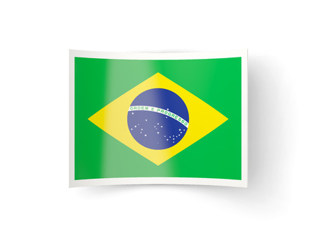bent: Bent icon with flag of brazil isolated on white