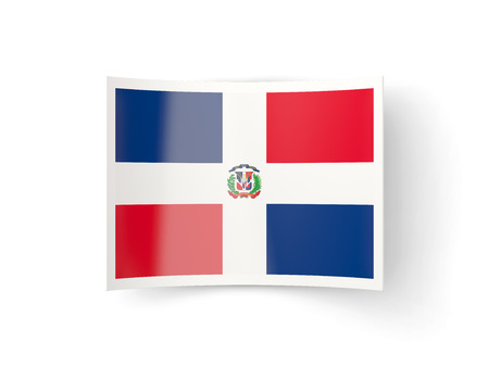 bent: Bent icon with flag of dominican republic isolated on white