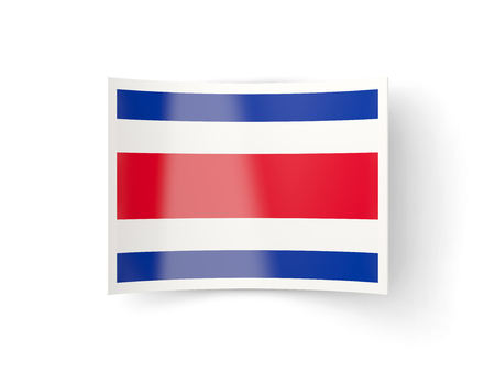 bent: Bent icon with flag of costa rica isolated on white
