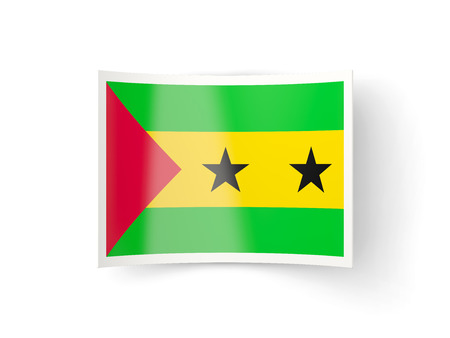 principe: Bent icon with flag of sao tome and principe isolated on white