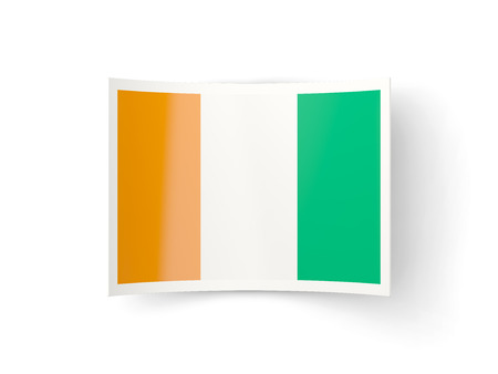cote ivoire: Bent icon with flag of cote d Ivoire isolated on white