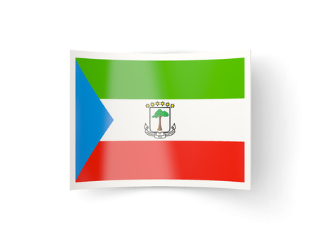 equatorial guinea: Bent icon with flag of equatorial guinea isolated on white